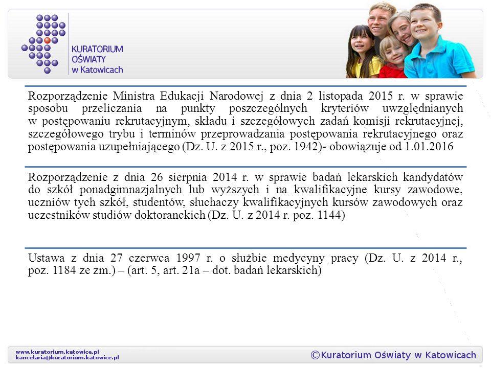 Rozporządzenie Ministra Edukacji Narodowej z dnia 2 listopada 2015 r