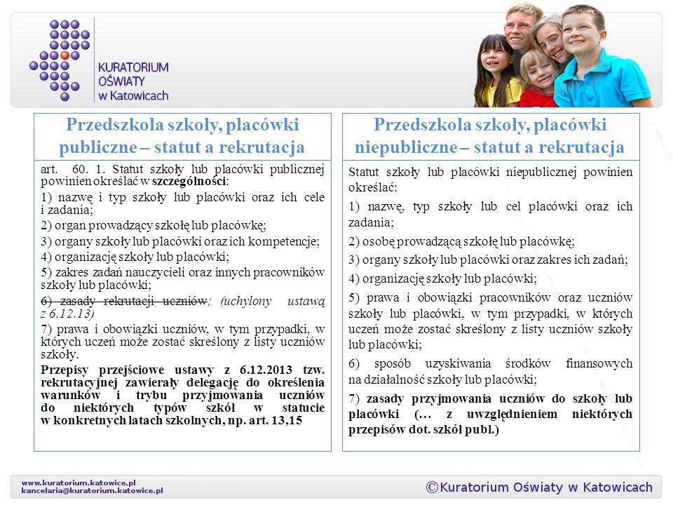 Przedszkola szkoły, placówki publiczne – statut a rekrutacja