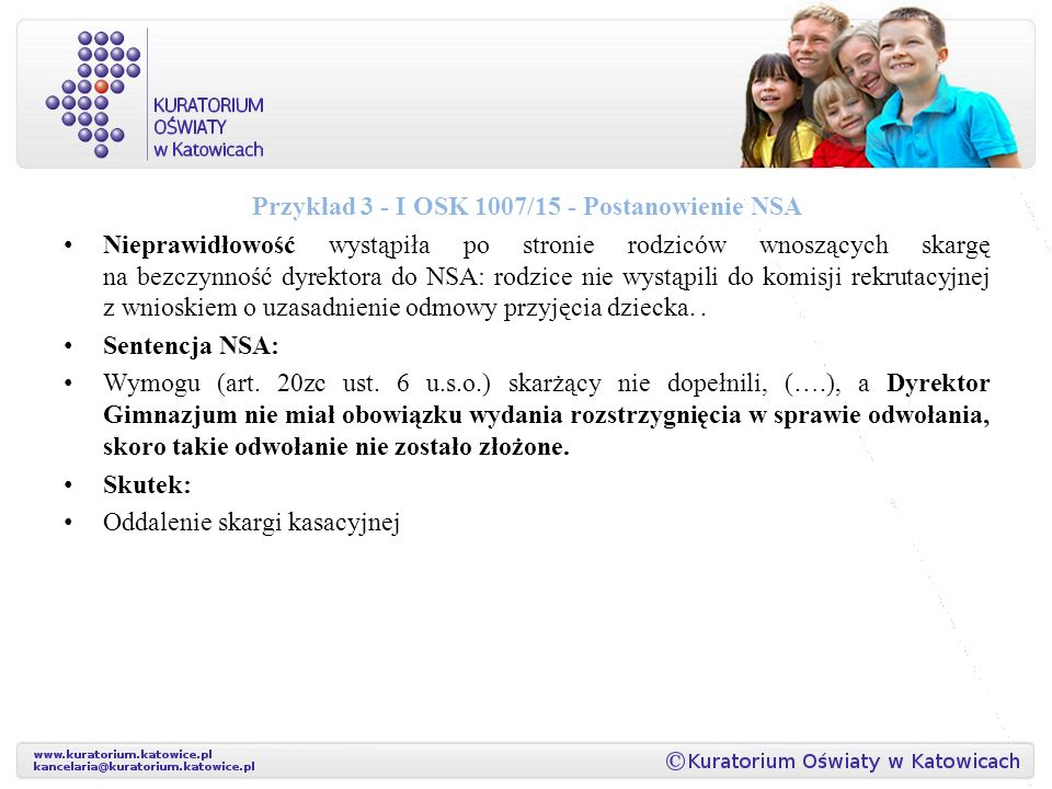 Przykład 3 - I OSK 1007/15 - Postanowienie NSA
