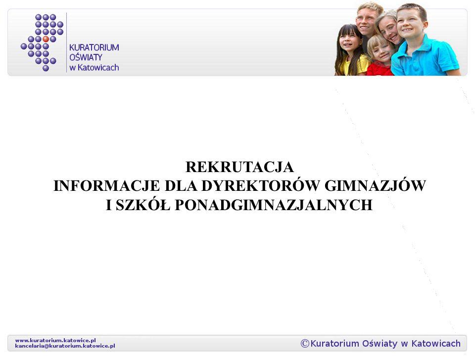 Rekrutacja informacje dla dyrektorów gimnazjów i szkół ponadgimnazjalnych