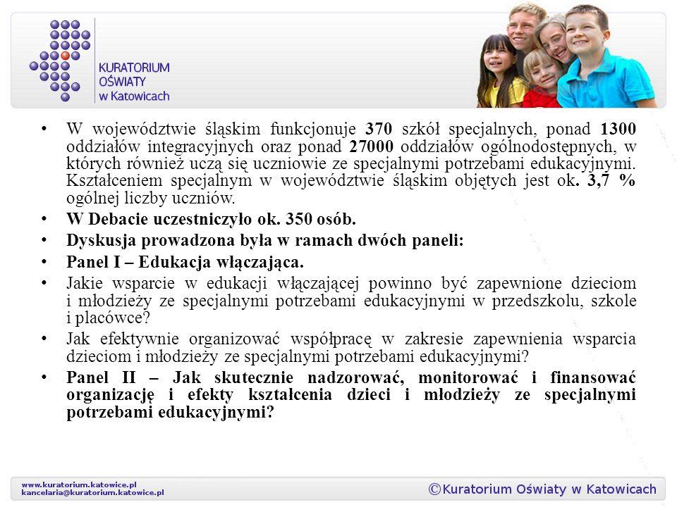 W województwie śląskim funkcjonuje 370 szkół specjalnych, ponad 1300 oddziałów integracyjnych oraz ponad 27000 oddziałów ogólnodostępnych, w których również uczą się uczniowie ze specjalnymi potrzebami edukacyjnymi. Kształceniem specjalnym w województwie śląskim objętych jest ok. 3,7 % ogólnej liczby uczniów.