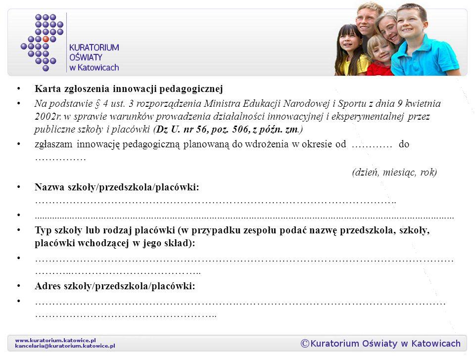 Karta zgłoszenia innowacji pedagogicznej