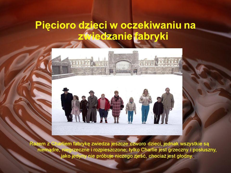 Pięcioro dzieci w oczekiwaniu na zwiedzanie fabryki