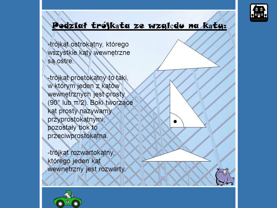 Podział trójkąta ze względu na kąty: