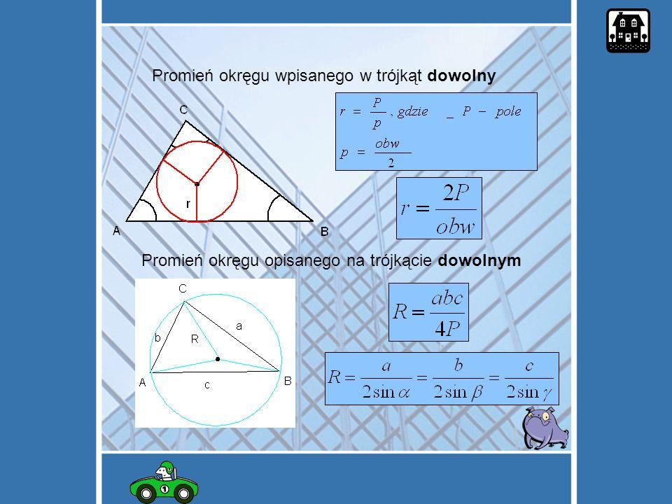 Promień okręgu wpisanego w trójkąt dowolny