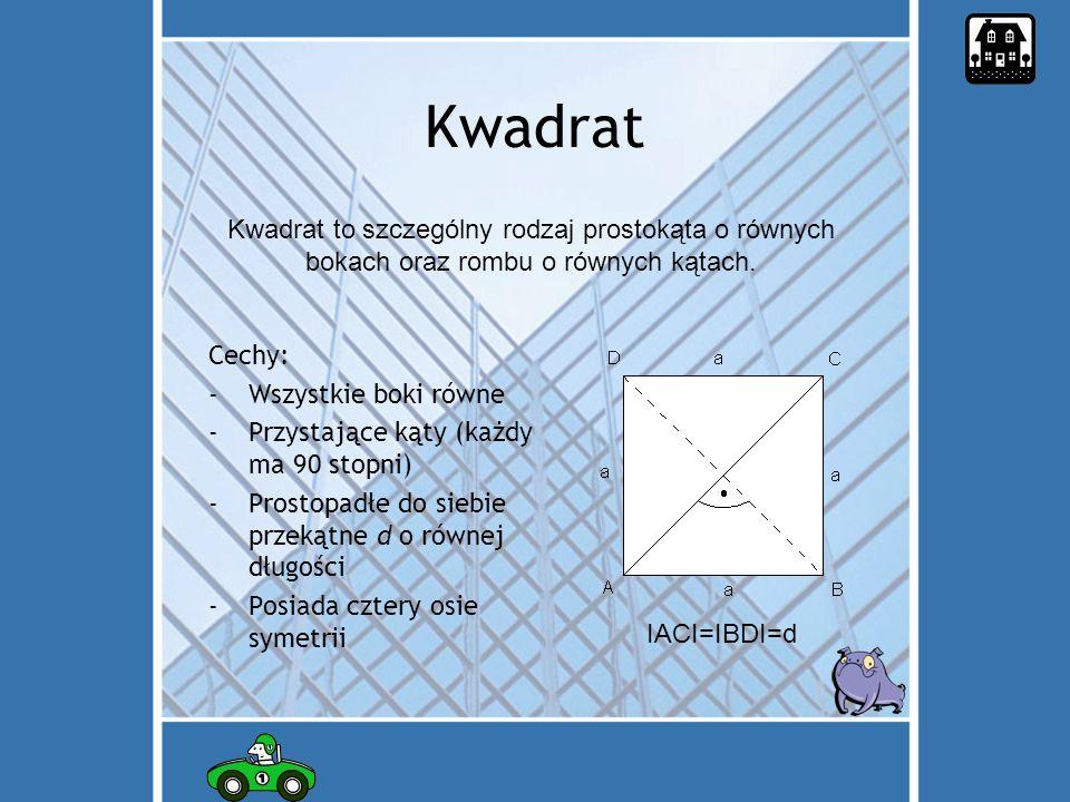 Kwadrat Kwadrat to szczególny rodzaj prostokąta o równych bokach oraz rombu o równych kątach. Cechy: