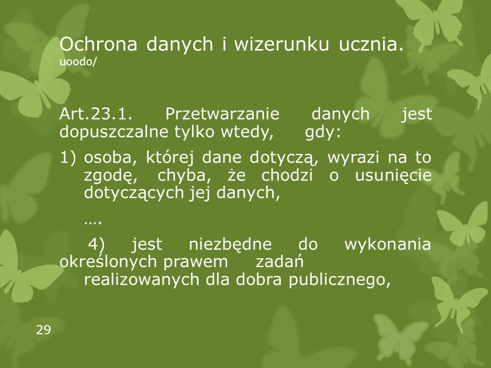 Ochrona danych i wizerunku ucznia. uoodo/