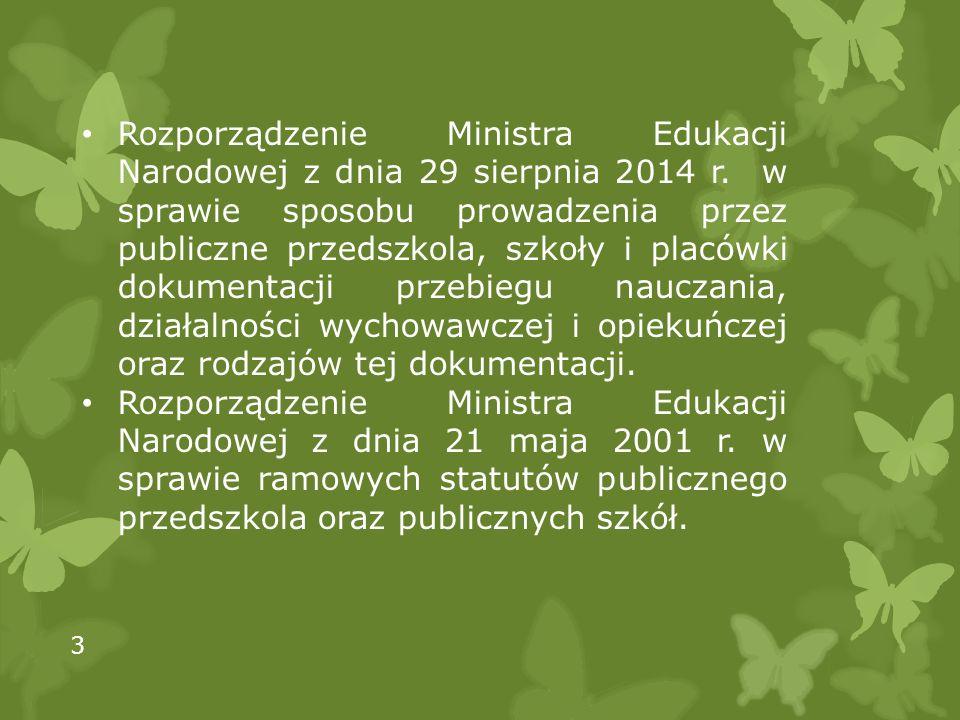 Rozporządzenie Ministra Edukacji Narodowej z dnia 29 sierpnia 2014 r