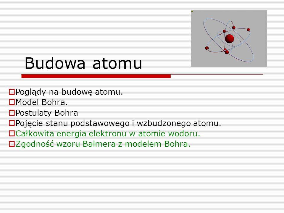 Budowa atomu Poglądy na budowę atomu. Model Bohra. Postulaty Bohra