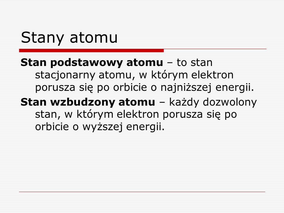 Stany atomu Stan podstawowy atomu – to stan stacjonarny atomu, w którym elektron porusza się po orbicie o najniższej energii.
