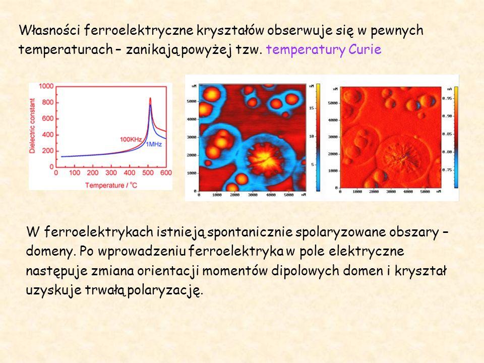Własności ferroelektryczne kryształów obserwuje się w pewnych temperaturach – zanikają powyżej tzw. temperatury Curie