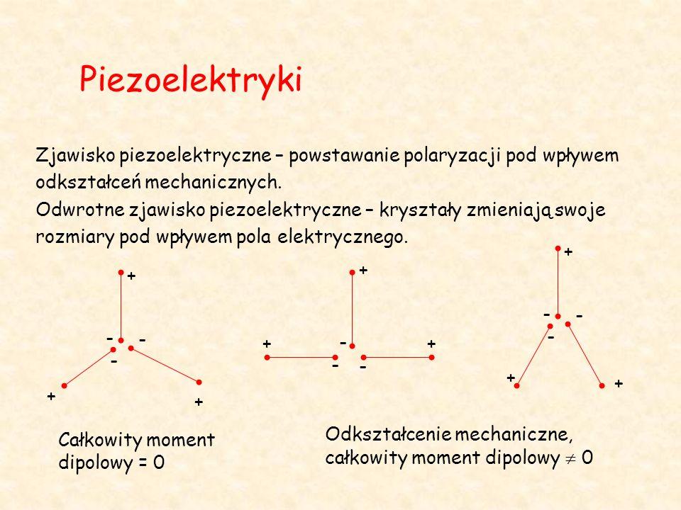 Piezoelektryki Zjawisko piezoelektryczne – powstawanie polaryzacji pod wpływem odkształceń mechanicznych.