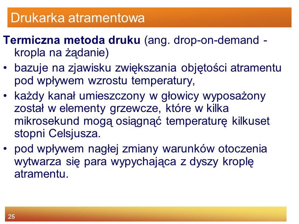 Drukarka atramentowa Termiczna metoda druku (ang. drop-on-demand - kropla na żądanie)