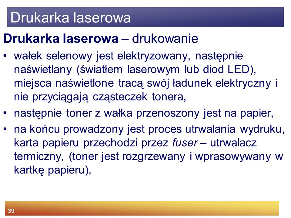 Drukarka laserowa Drukarka laserowa – drukowanie