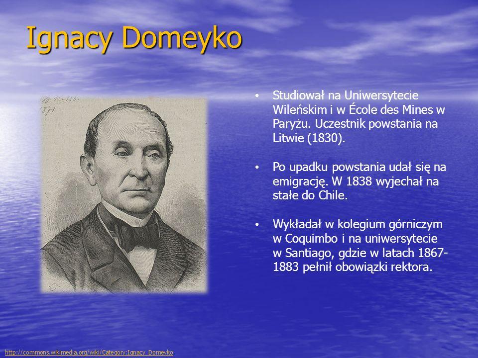 Ignacy Domeyko Studiował na Uniwersytecie Wileńskim i w École des Mines w Paryżu. Uczestnik powstania na Litwie (1830).