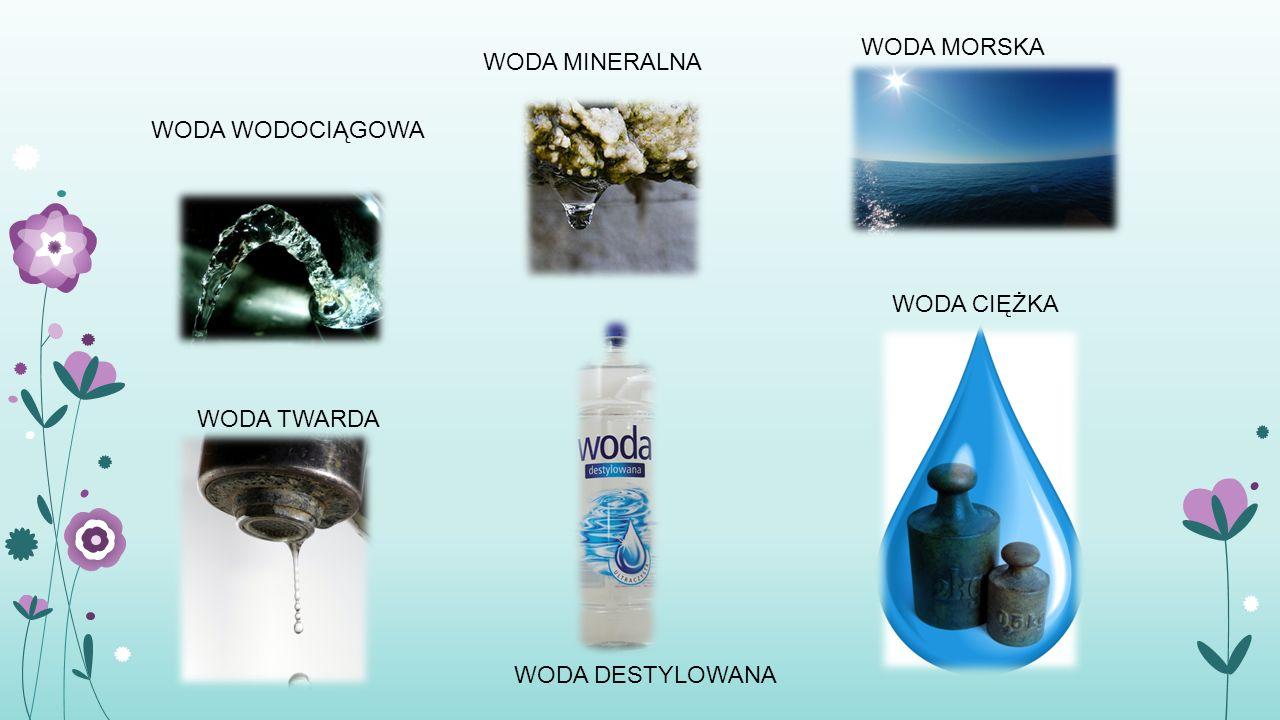WODA MORSKA WODA MINERALNA WODA WODOCIĄGOWA WODA CIĘŻKA WODA TWARDA WODA DESTYLOWANA