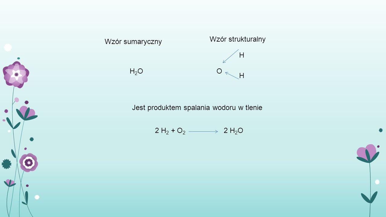 Wzór strukturalny Wzór sumaryczny. H. H2O. O.