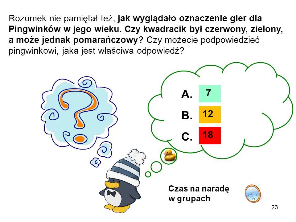 Rozumek nie pamiętał też, jak wyglądało oznaczenie gier dla Pingwinków w jego wieku. Czy kwadracik był czerwony, zielony, a może jednak pomarańczowy Czy możecie podpowiedzieć pingwinkowi, jaka jest właściwa odpowiedź