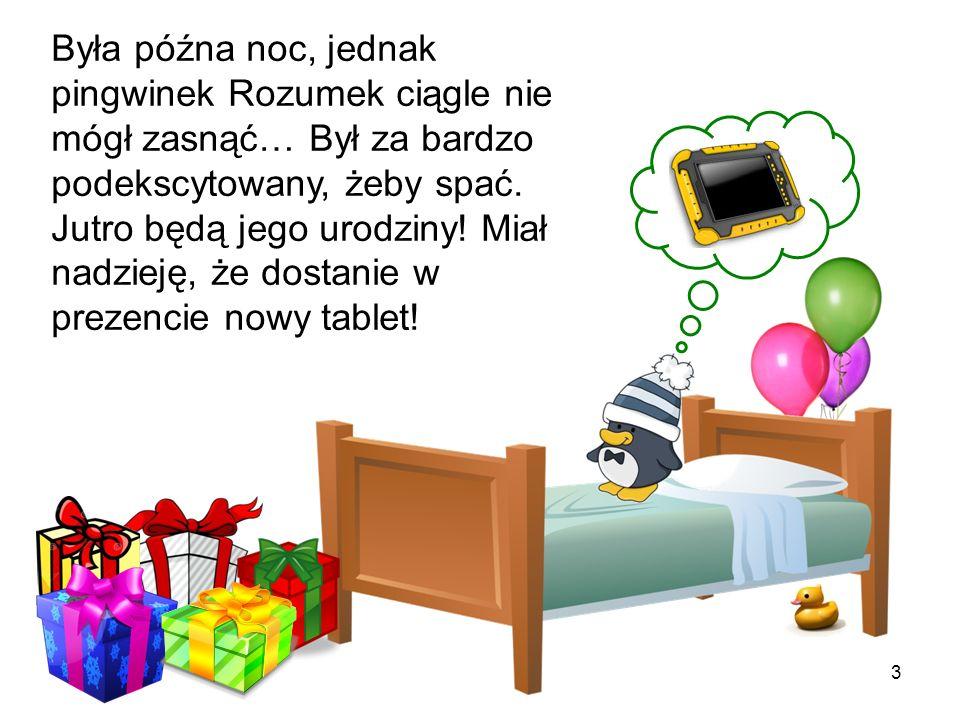 Była późna noc, jednak pingwinek Rozumek ciągle nie mógł zasnąć… Był za bardzo podekscytowany, żeby spać. Jutro będą jego urodziny! Miał nadzieję, że dostanie w prezencie nowy tablet!