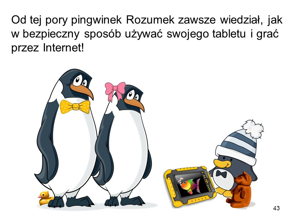 Od tej pory pingwinek Rozumek zawsze wiedział, jak w bezpieczny sposób używać swojego tabletu i grać przez Internet!