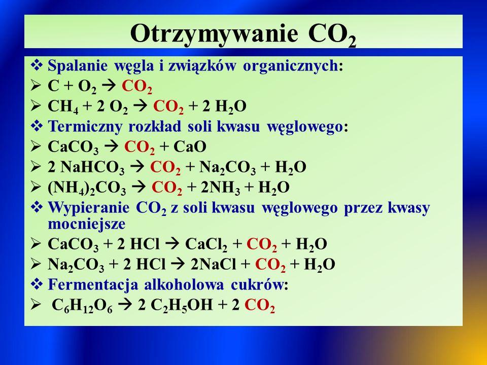 Otrzymywanie CO2 Spalanie węgla i związków organicznych: C + O2  CO2