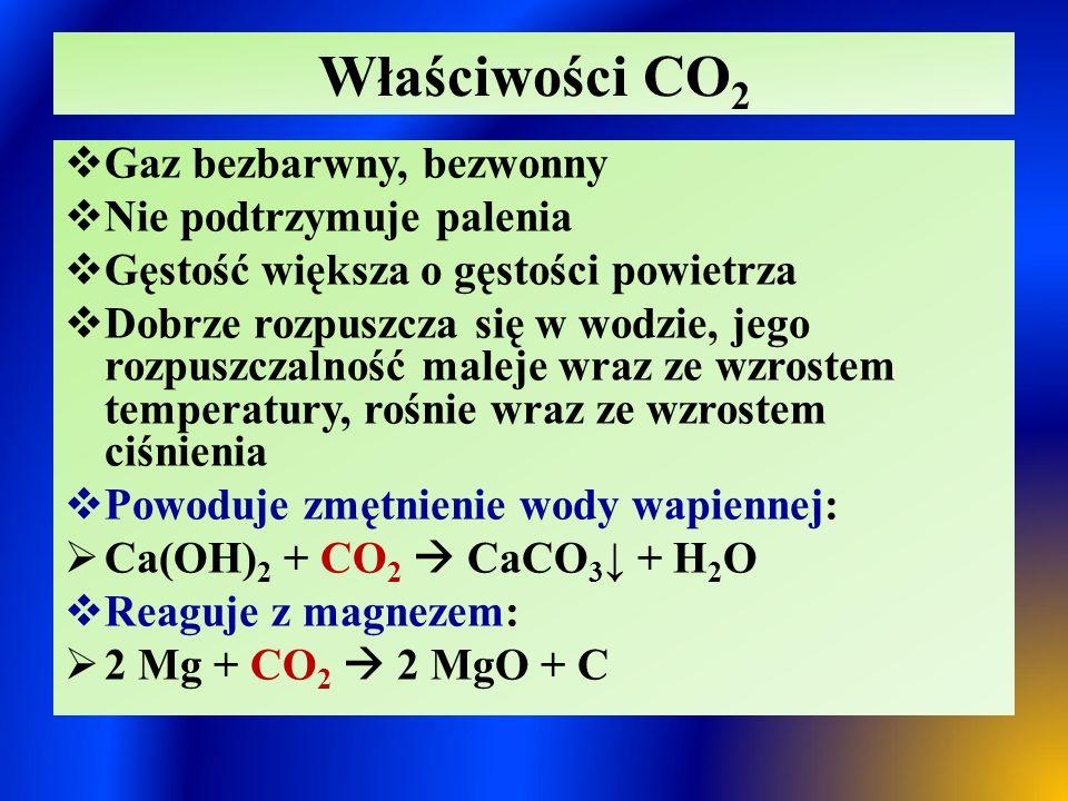 Właściwości CO2 Gaz bezbarwny, bezwonny Nie podtrzymuje palenia