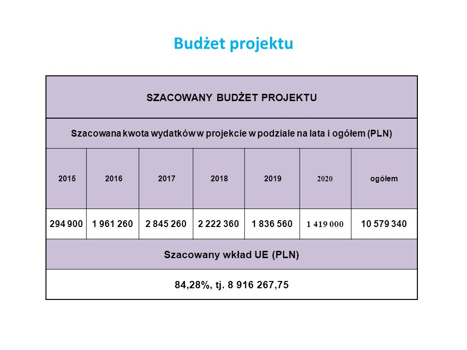 Budżet projektu SZACOWANY BUDŻET PROJEKTU Szacowany wkład UE (PLN)