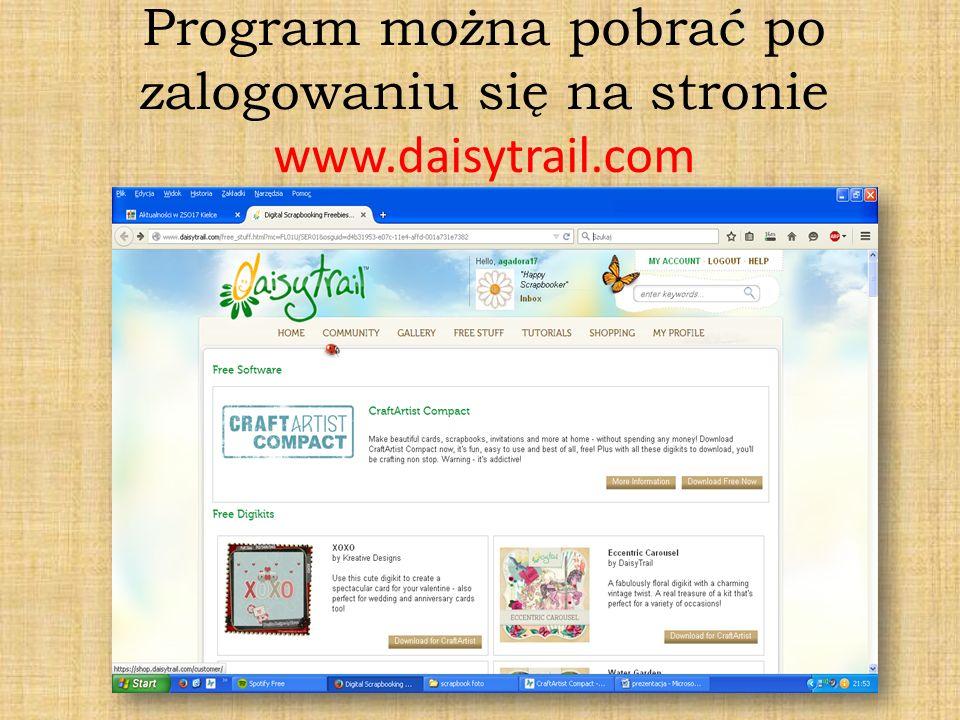 Program można pobrać po zalogowaniu się na stronie www.daisytrail.com