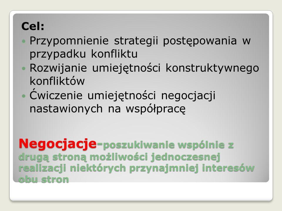 Cel: Przypomnienie strategii postępowania w przypadku konfliktu. Rozwijanie umiejętności konstruktywnego konfliktów.