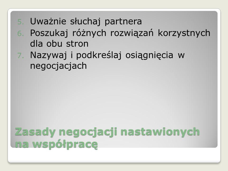 Zasady negocjacji nastawionych na współpracę