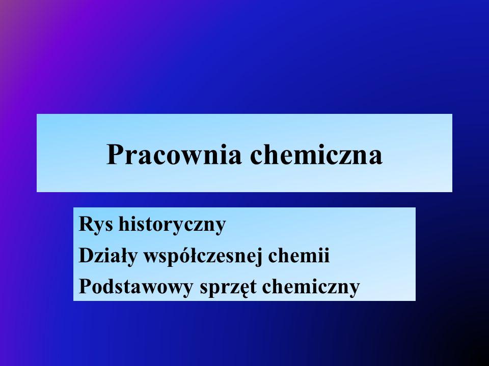 Rys historyczny Działy współczesnej chemii Podstawowy sprzęt chemiczny