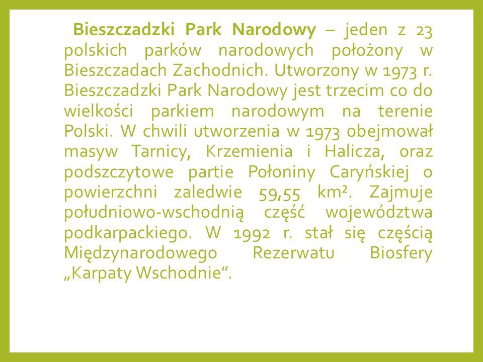 Bieszczadzki Park Narodowy – jeden z 23 polskich parków narodowych położony w Bieszczadach Zachodnich.