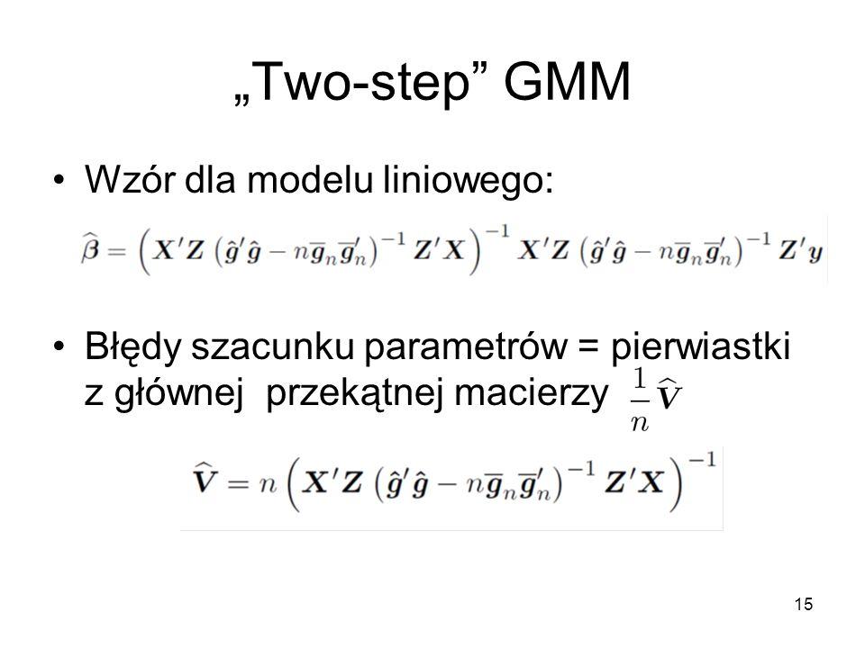 """""""Two-step GMM Wzór dla modelu liniowego:"""