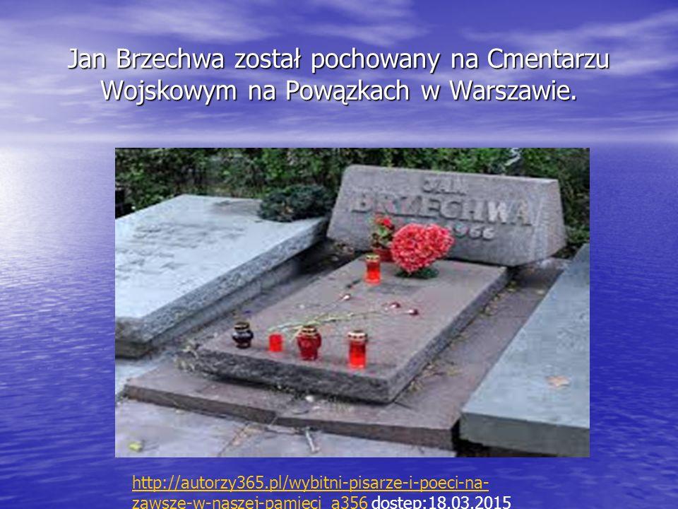 Jan Brzechwa został pochowany na Cmentarzu Wojskowym na Powązkach w Warszawie.