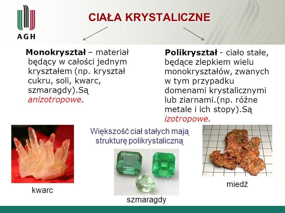 Większość ciał stałych mają strukturę polikrystaliczną