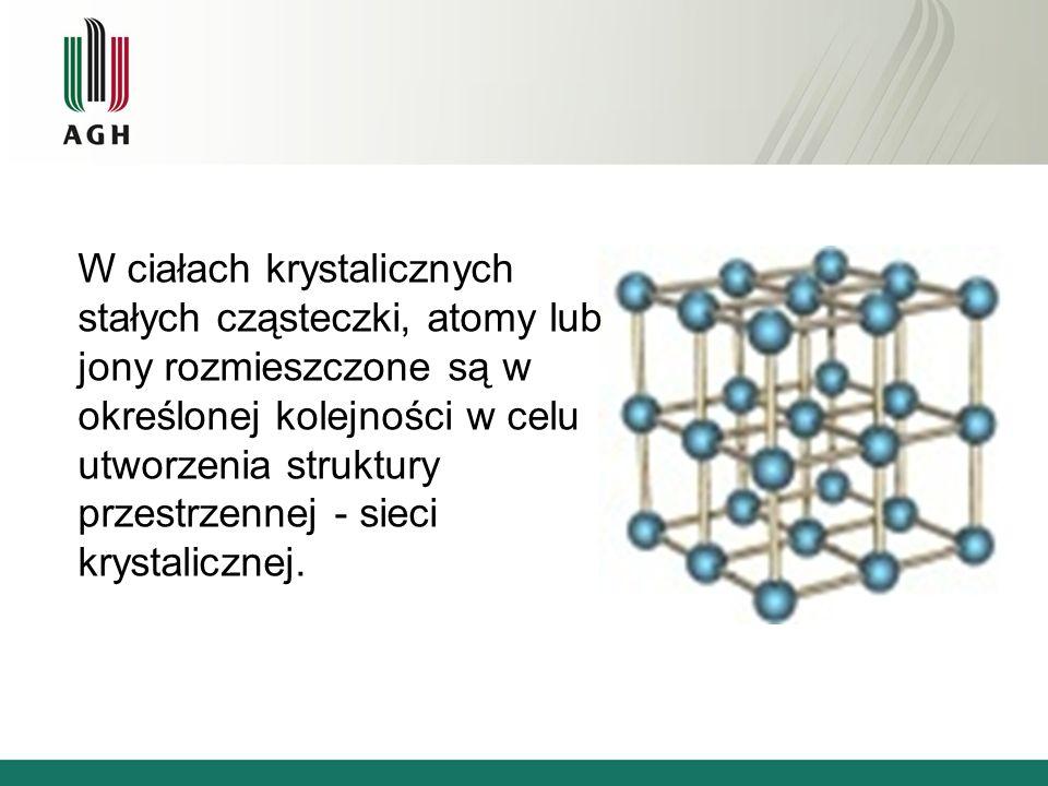 W ciałach krystalicznych stałych cząsteczki, atomy lub jony rozmieszczone są w określonej kolejności w celu utworzenia struktury przestrzennej - sieci krystalicznej.