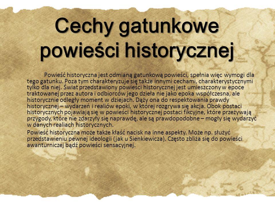 Cechy gatunkowe powieści historycznej
