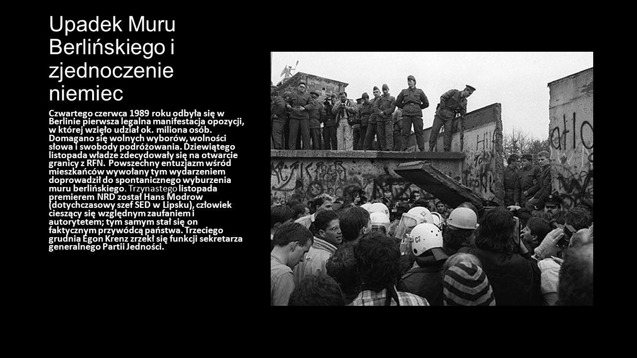 Upadek Muru Berlińskiego i zjednoczenie niemiec