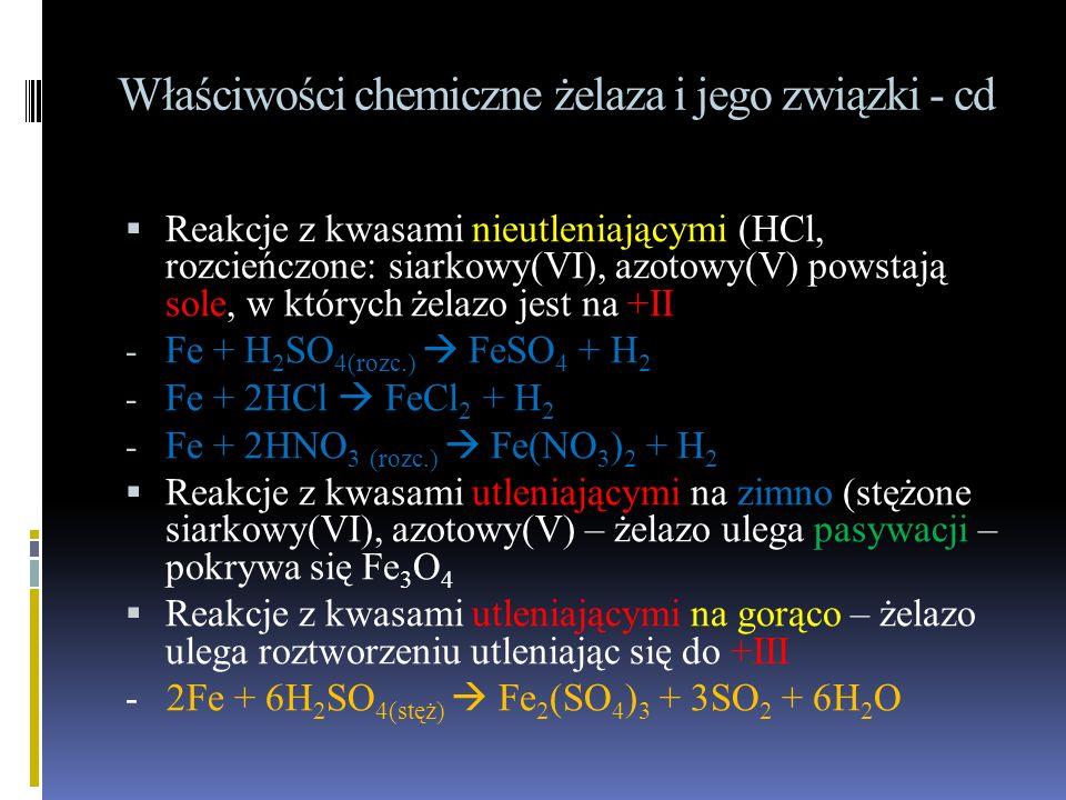 Właściwości chemiczne żelaza i jego związki - cd