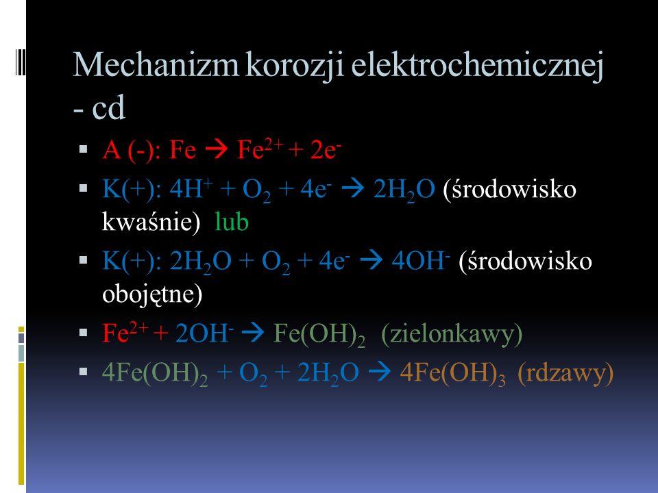 Mechanizm korozji elektrochemicznej - cd