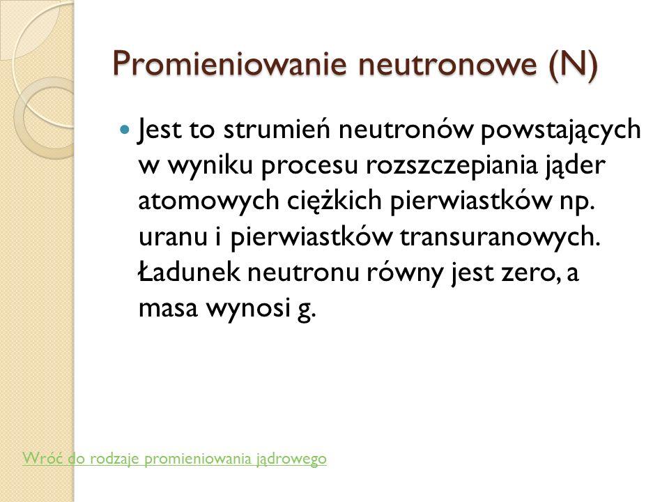 Promieniowanie neutronowe (N)
