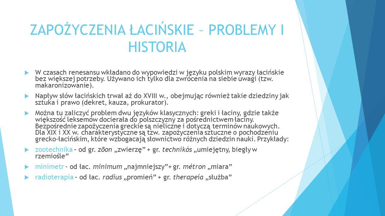 ZAPOŻYCZENIA ŁACIŃSKIE – PROBLEMY I HISTORIA