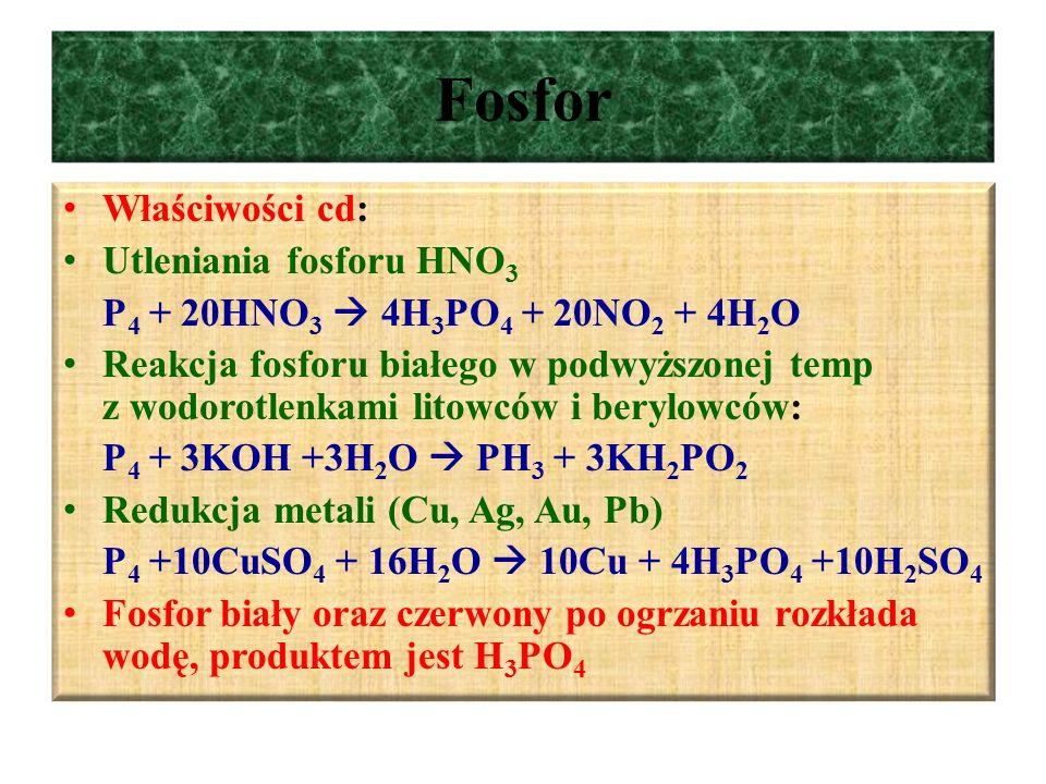 Fosfor Właściwości cd: Utleniania fosforu HNO3