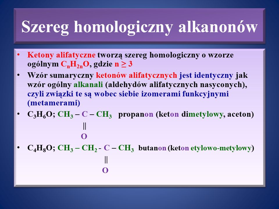 Szereg homologiczny alkanonów