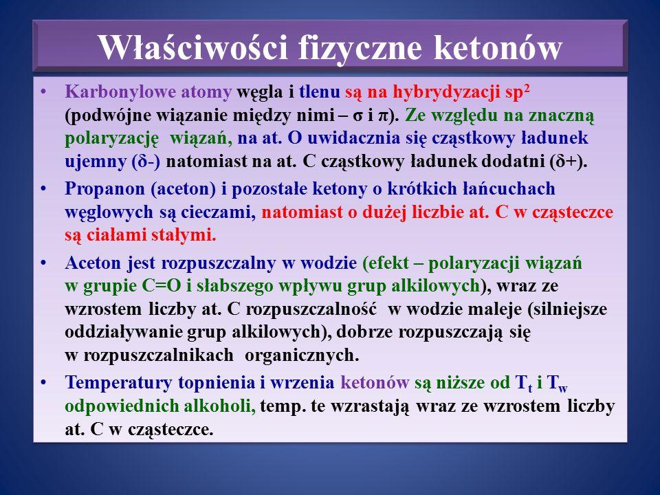 Właściwości fizyczne ketonów