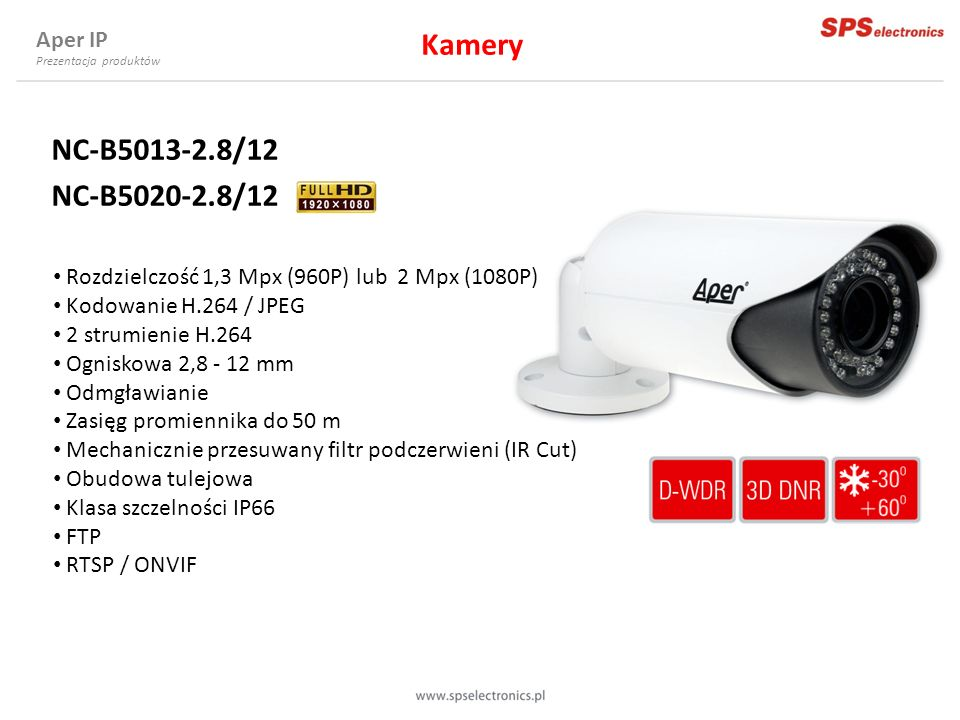 Kamery NC-B5013-2.8/12 NC-B5020-2.8/12 Aper IP