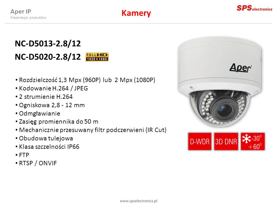 Kamery NC-D5013-2.8/12 NC-D5020-2.8/12 Aper IP