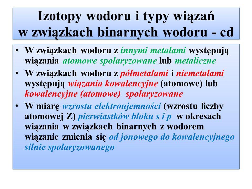 Izotopy wodoru i typy wiązań w związkach binarnych wodoru - cd