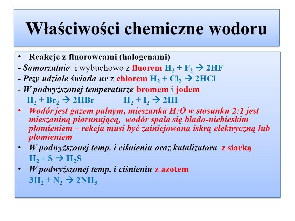Właściwości chemiczne wodoru
