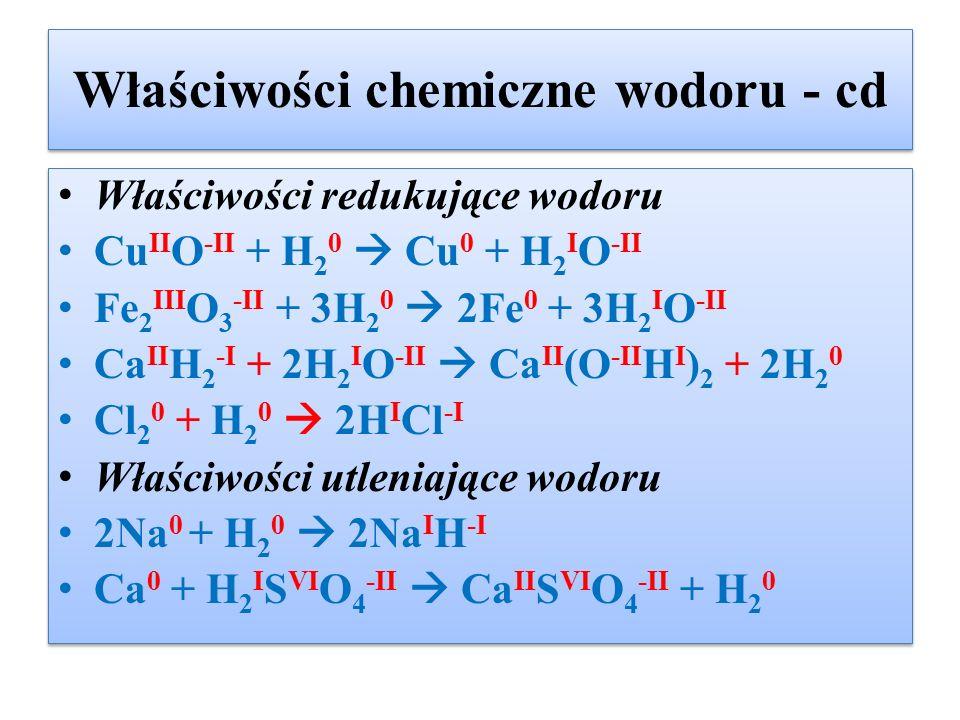 Właściwości chemiczne wodoru - cd